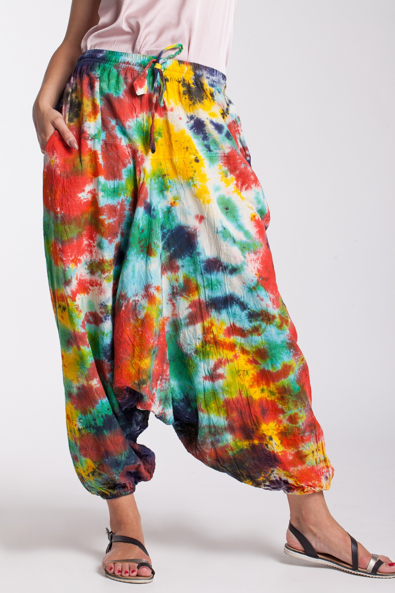 Salvari din bumbac tie-dye multicori
