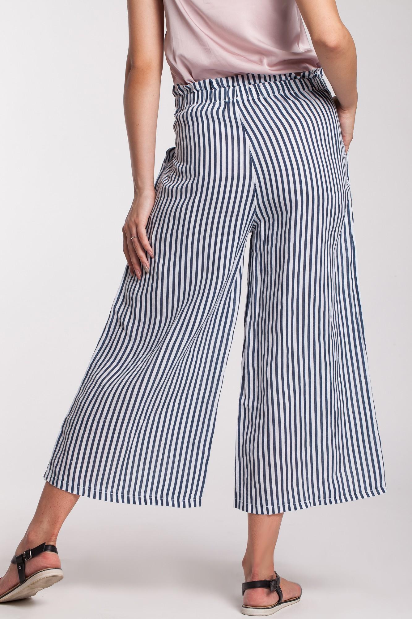 Pantaloni culotte in dungi bleu-alb din in