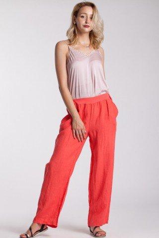 Pantaloni din in corai cu talie elastica