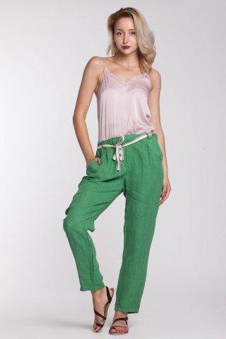 Pantaloni verzi din in cu cordon detasabil