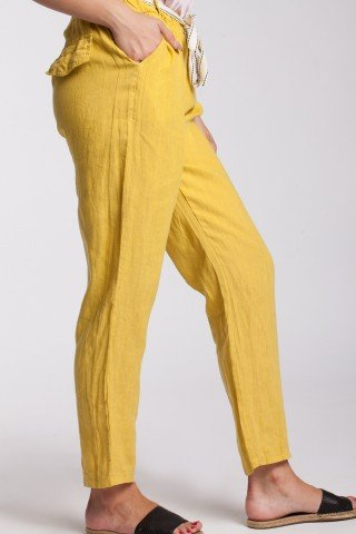 Pantaloni galbeni din in cu cordon detasabil