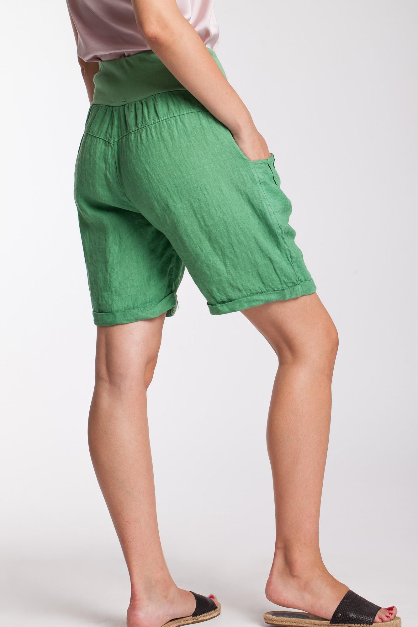Pantaloni scurti verzi din in cu talie lata elastica
