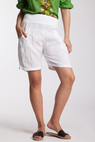 Pantaloni scurti albi din in cu talie lata elastica