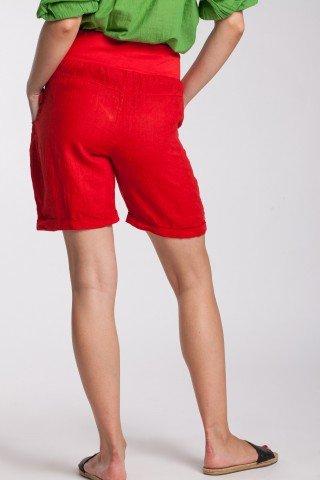 Pantaloni scurti rosii din in cu talie lata elastica