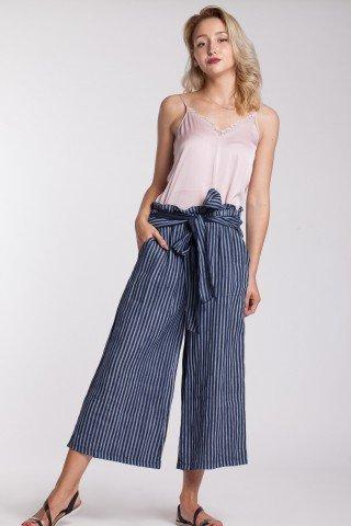 Pantaloni culotte in dungi bleumarin-albastru din in