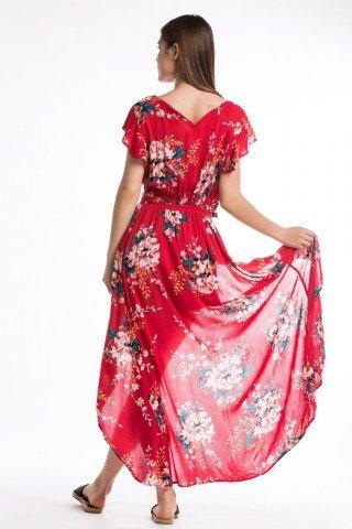 Salopeta rosie cu trena si imprimeu floral