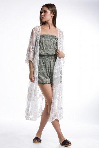 Kimono boho-chic din dantela alba