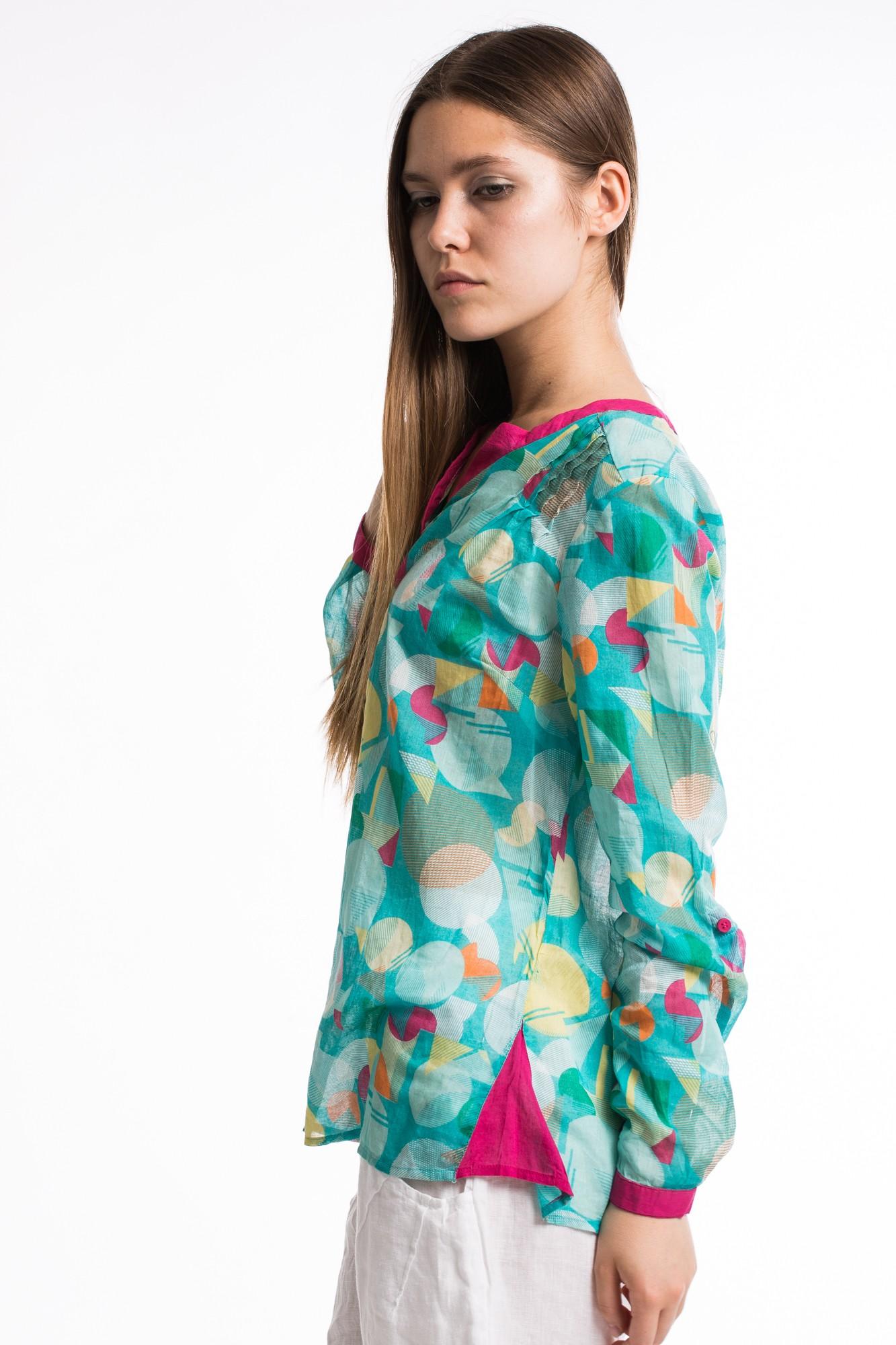 Bluza multicolora din bumbac subtire cu nasturi pe spate