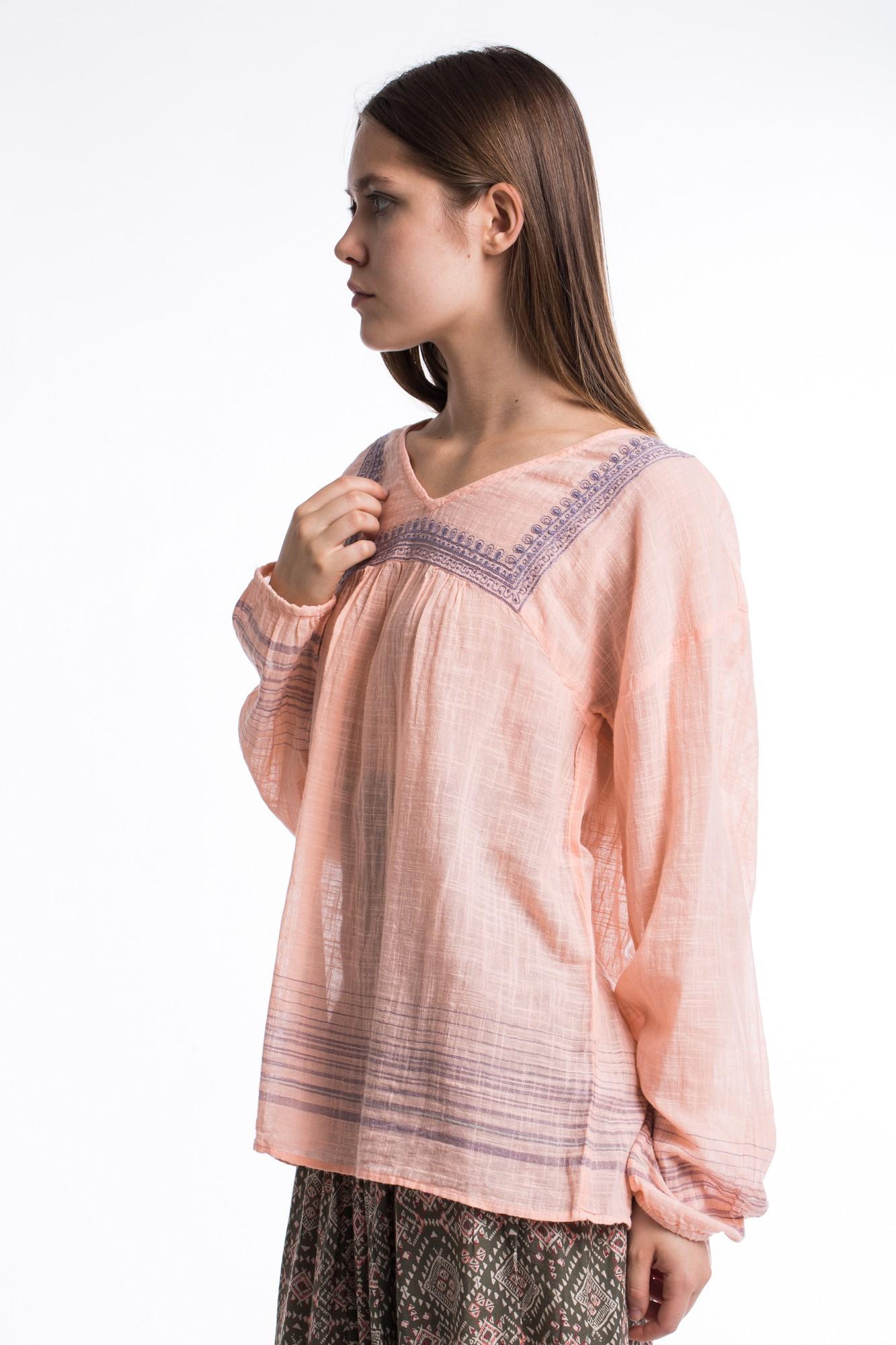 Bluza roz din bumbac subtire cu motive etnice