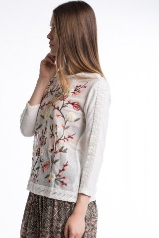 Bluza alba din bumbac cu broderie florala si dantela