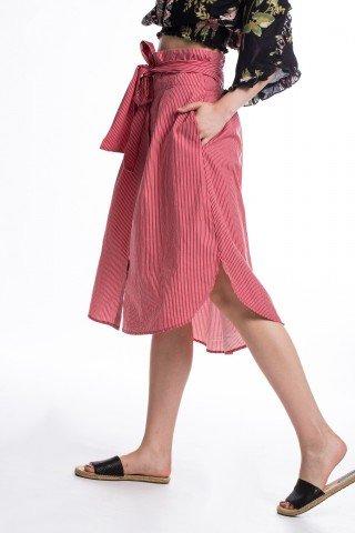 Fusta din bumbac rosie cu dungi albe elastic si cordon in talie