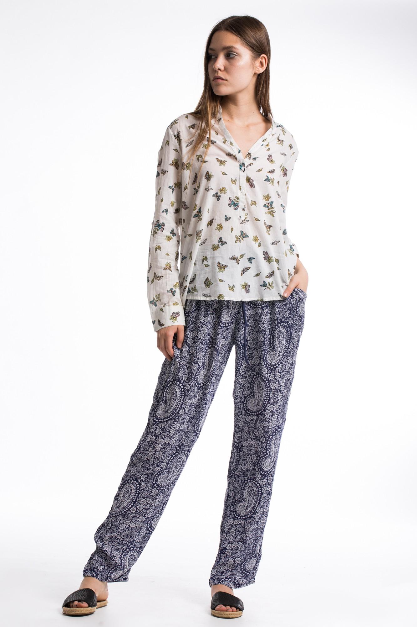 Pantaloni bleumarin din vascoza cu imprimeu paisley