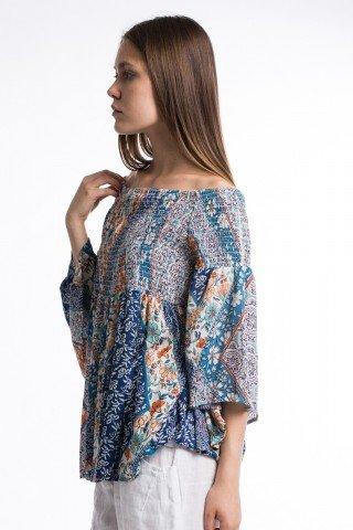 Bluza din vascoza multicolora cu maneci clopot