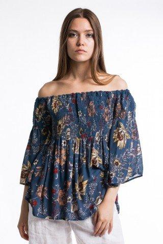 Bluza albastra cu imprimeu floral si maneci clopot