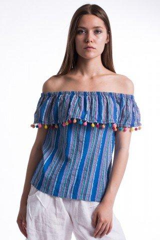 Bluza albastra cu dungi volan si ciucuri multicolori
