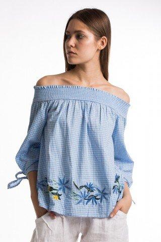 Bluza din bumbac in carouri cu broderie florala