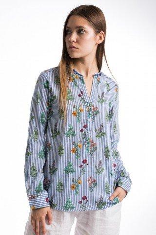 Bluza din bumbac in dungi cu imprimeu botanic
