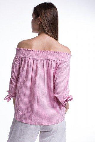 Bluza din bumbac in carouri roz-alb cu broderie