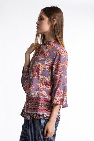 Bluza lila cu imprimeu floral si etnic