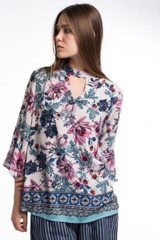 Bluza din vascoza cu imprimeu floral si etnic