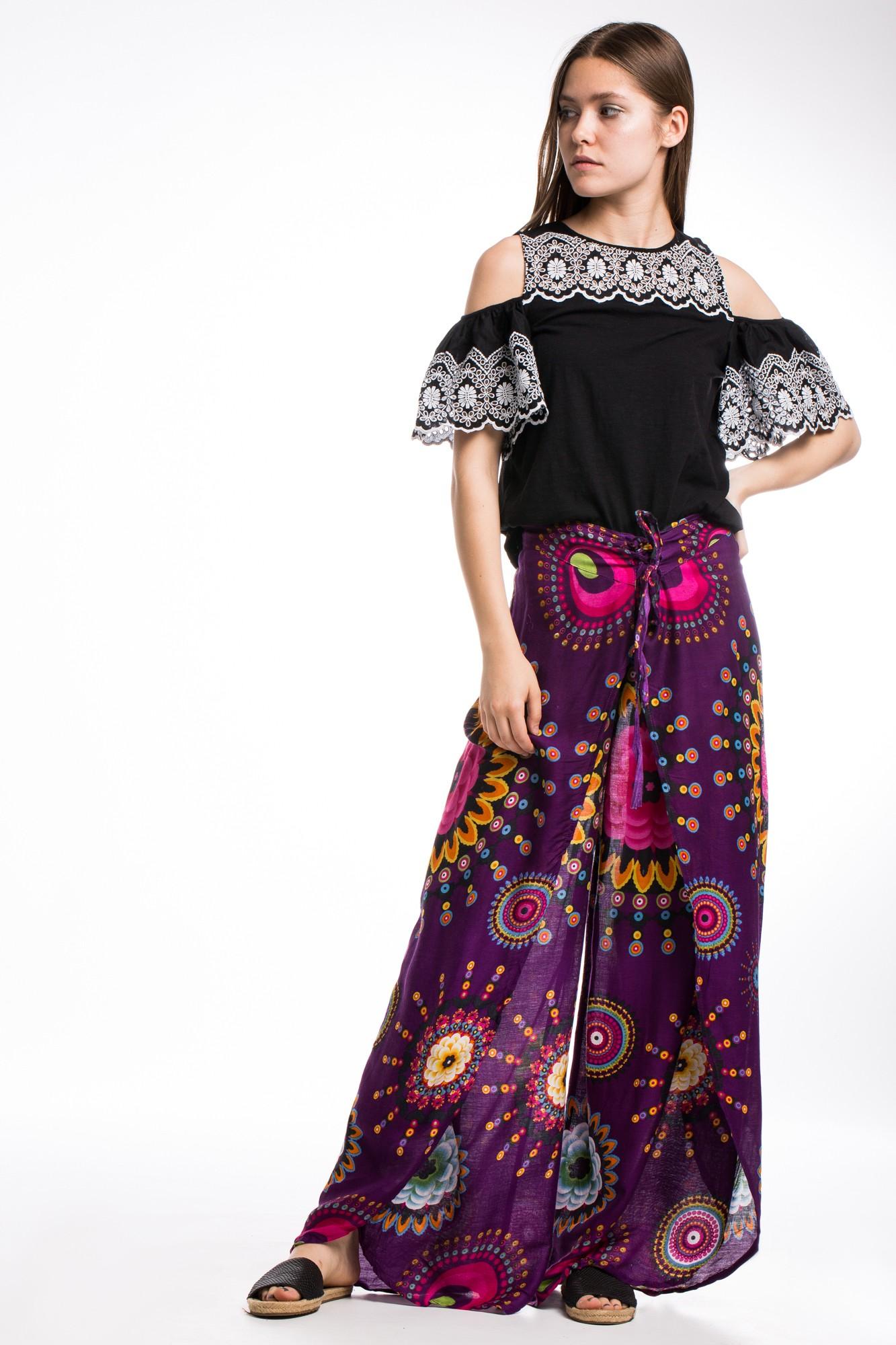 Pantaloni petrecuti mov cu imprimeu etnic