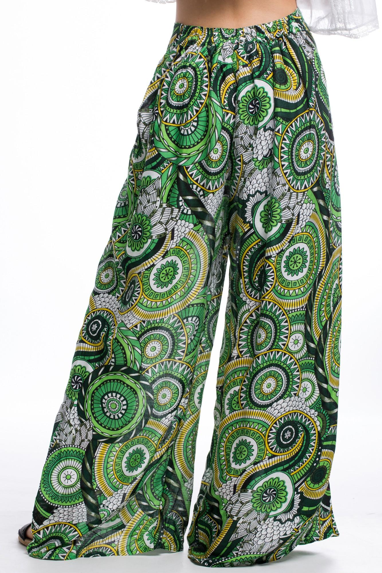 Pantaloni petrecuti verzi cu imprimeu
