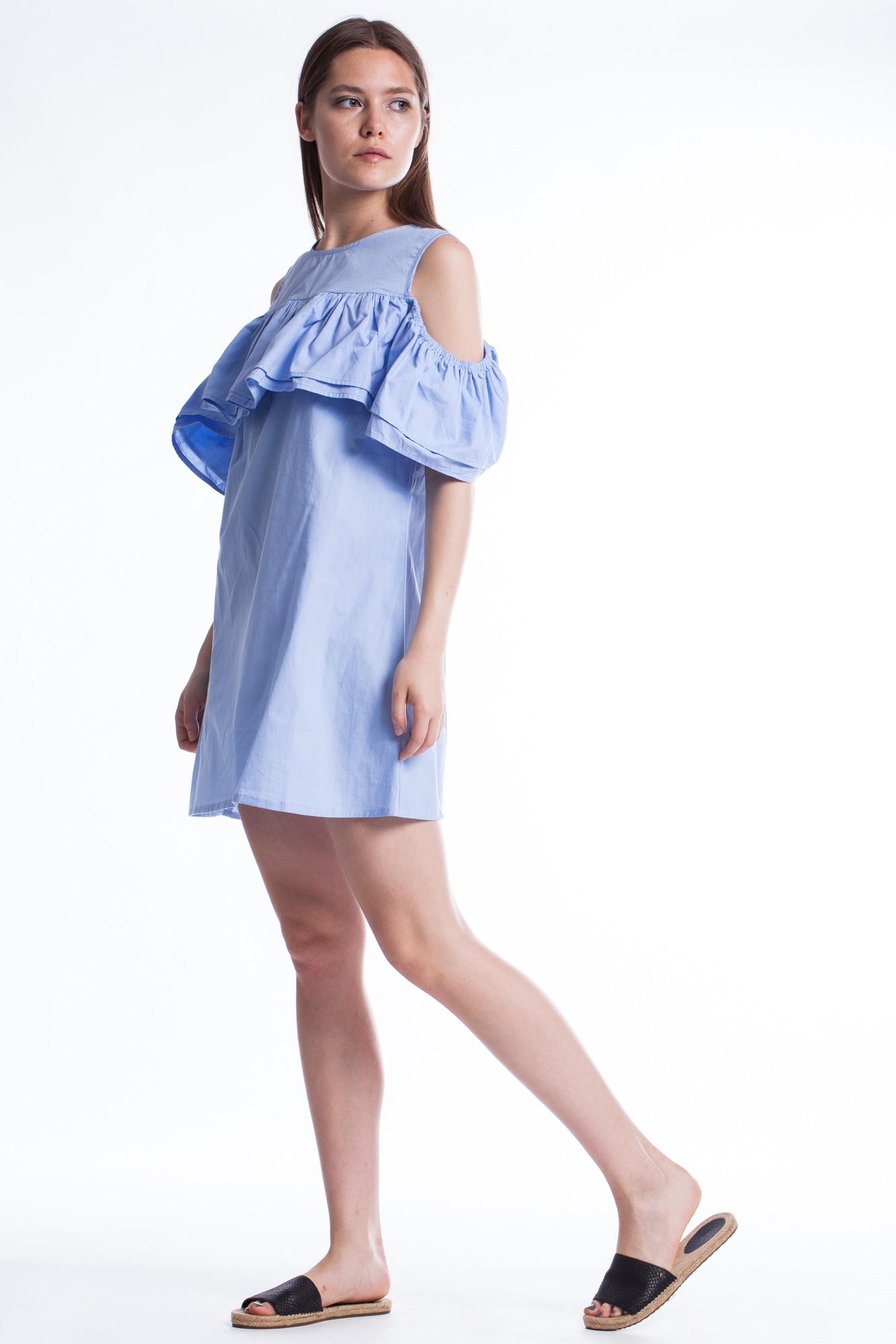 Rochie bleu cu volan dublu si fara umeri