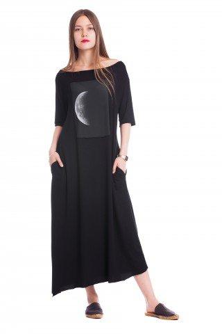 SUMMER MOON Rochie lunga asimetrica cu buzunare laterale fara tivuri si imprimeu luna