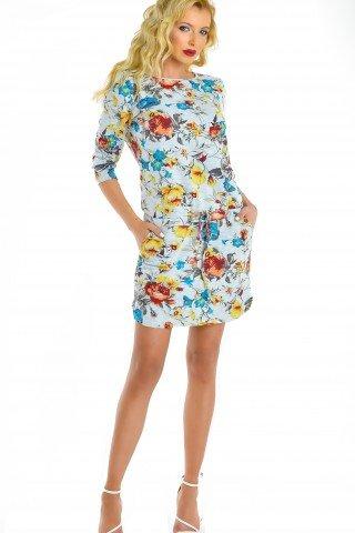 Rochie cu imprimeu floral multicolor si snur reglabil