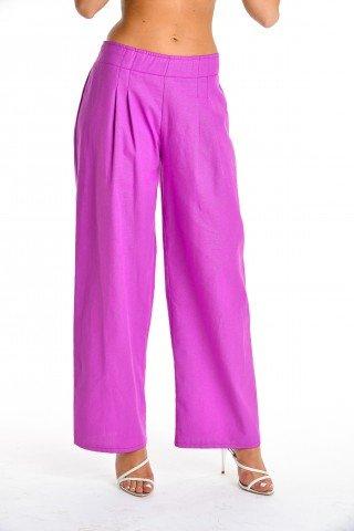 Pantaloni ciclam largi cu pense si elastic