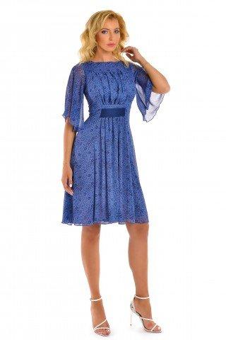 Rochie albastra cu imprimeu bleumarin si maneci clopot