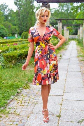 Rochie multicolora cu maneci scurte si volan