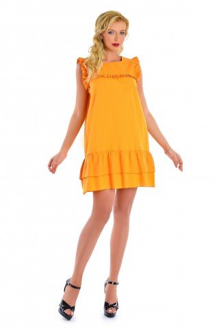 Rochie portocalie din bumbac cu volane