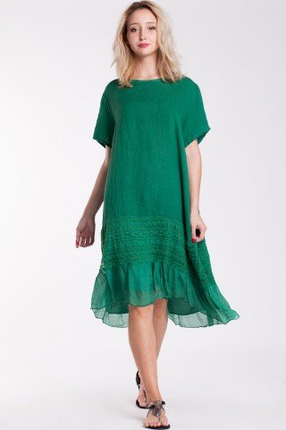 Rochie verde din in cu insertie din dantela si volan din matase