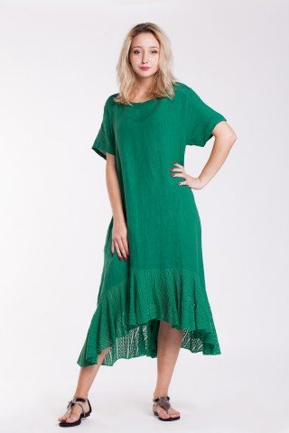 Rochie asimetrica verde din in cu volan din dantela