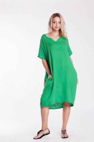 Rochie oversized verde din in cu buzunare