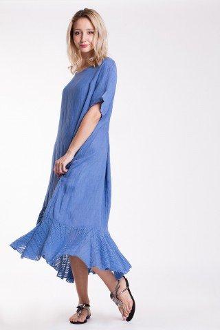Rochie asimetrica bleu din in cu volan din dantela
