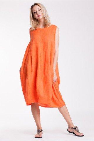 Rochie Tan portocalie din in cu buzunare