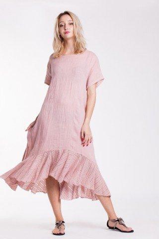 Rochie asimetrica roz din in cu volan din dantela