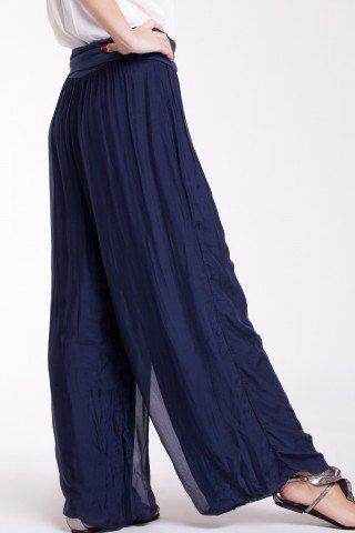 Pantaloni largi bleumarin din matase