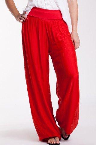 Pantaloni largi rosii din matase