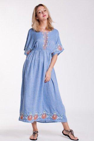Rochie din bumbac bleu cu broderie si elastic in talie