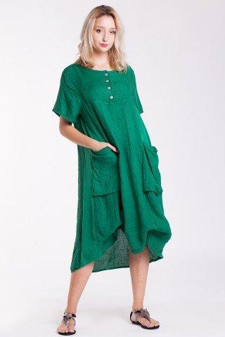 Rochie verde din in si bumbac cu buzunare aplicate si nasturi