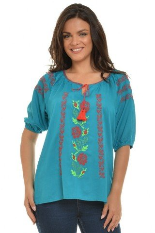Bluza ie traditionala romaneasca, turqoise