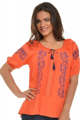 Bluza ie traditionala romaneasca, orange