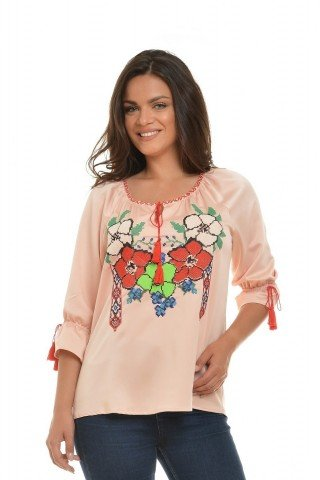 Bluza tip ie brodata, rose