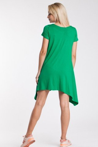 Rochie asimetrica verde din vascoza cu aplicatie din paiete