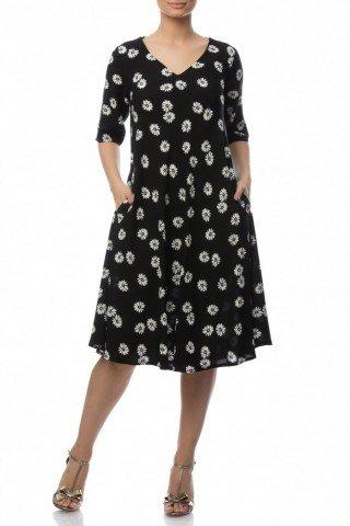 Rochie cu buzunare din vascoza imprimata cu margarete