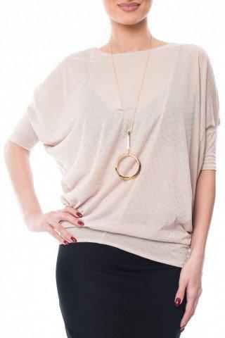 Bluza beige din bumbac cu mici aplicatii aurii