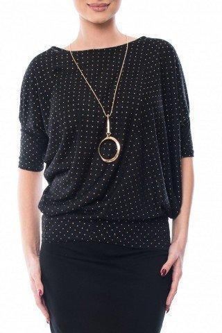 Bluza neagra din bumbac cu mici aplicatii aurii